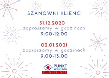 Godziny pracy w dniach 31.12.2020 i 2.01.2021